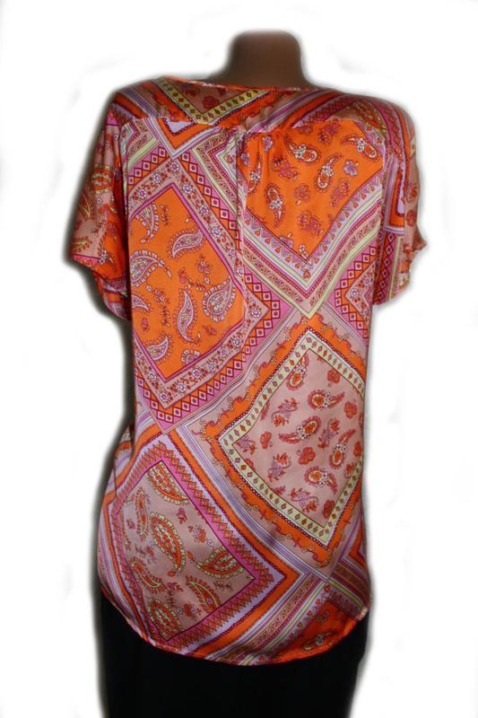 Блуза под атлас в бледно-оранжевые тур.огурцы и ромбы, daxon, ... - Фото 3