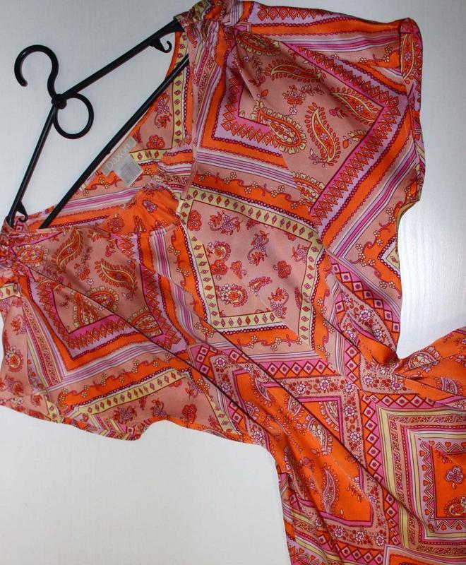 Блуза под атлас в бледно-оранжевые тур.огурцы и ромбы, daxon, ... - Фото 4