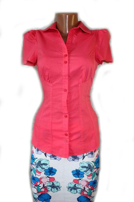 Блуза рубашка корал рукава - фонарики, 8/36 - Фото 2