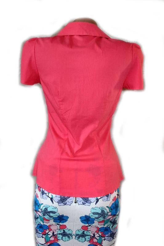 Блуза рубашка корал рукава - фонарики, 8/36 - Фото 3