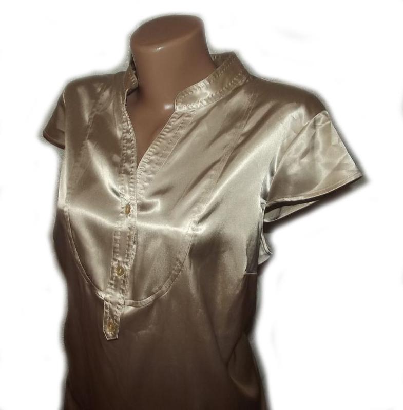 Блуза рубашка атлас бежевая autograph. большой размер - 20 - Фото 4
