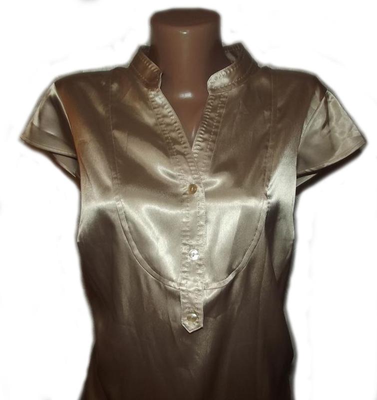 Блуза рубашка атлас бежевая autograph. большой размер - 20 - Фото 5