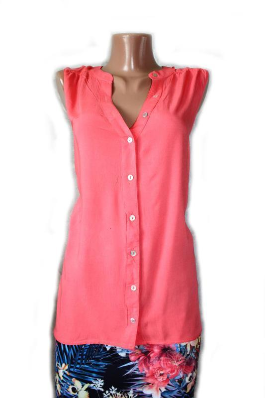 Блуза / топ / рубашка без рукавов корал горловина стоечкой