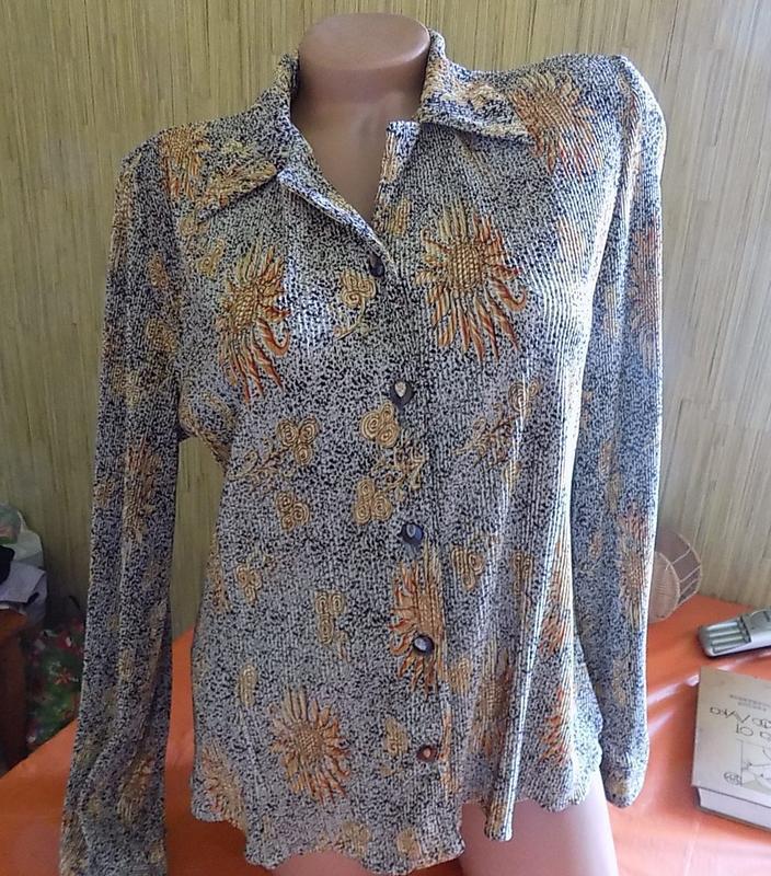 Блуза рубашка кофточка вертикальная жатка-гофре с красивым рис...