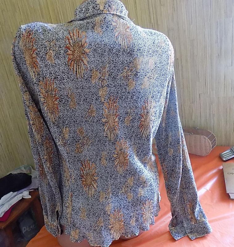 Блуза рубашка кофточка вертикальная жатка-гофре с красивым рис... - Фото 2