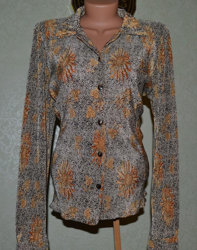 Блуза рубашка кофточка вертикальная жатка-гофре с красивым рис... - Фото 3