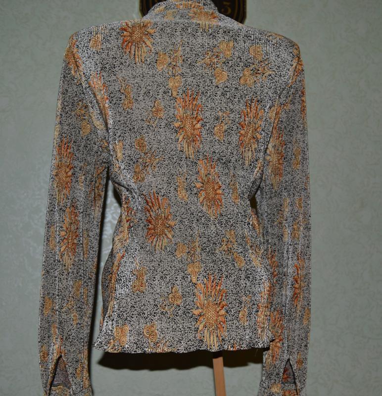 Блуза рубашка кофточка вертикальная жатка-гофре с красивым рис... - Фото 4