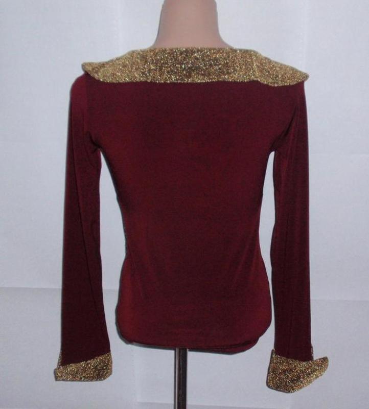 Стильная красивая блуза кофточка с золотыми манжетами и воротом - Фото 2