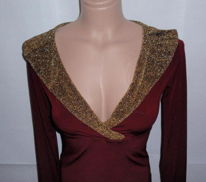 Стильная красивая блуза кофточка с золотыми манжетами и воротом - Фото 3