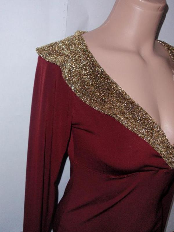 Стильная красивая блуза кофточка с золотыми манжетами и воротом - Фото 4