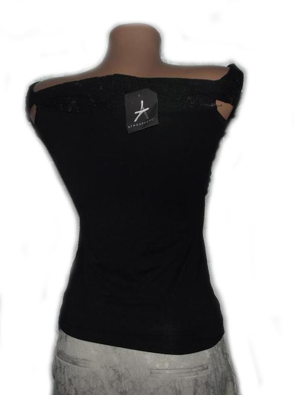 Блуза кофточка / топ майка черная ажурная / гипюровая вырез ло... - Фото 3