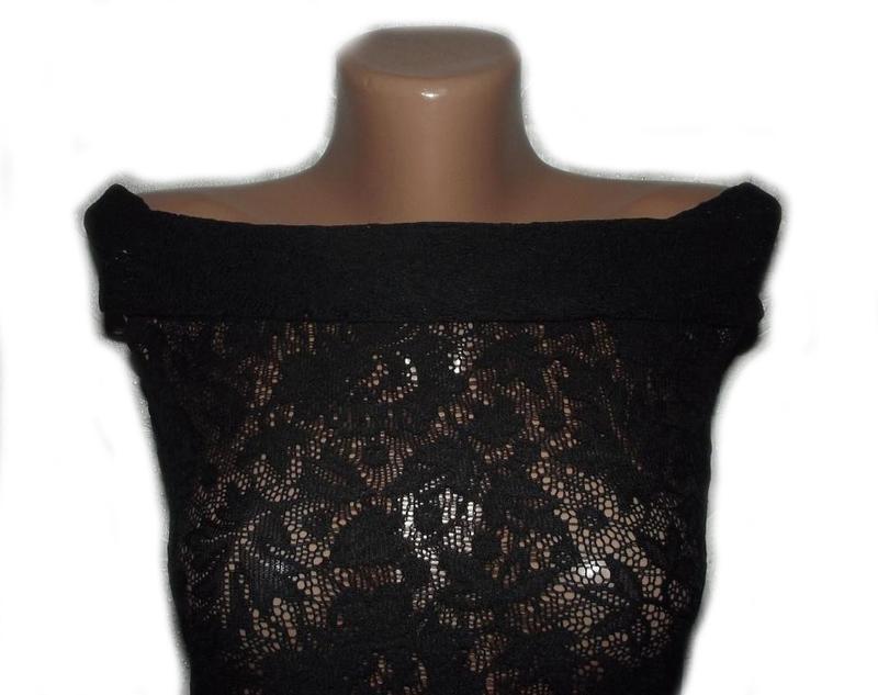 Блуза кофточка / топ майка черная ажурная / гипюровая вырез ло... - Фото 4
