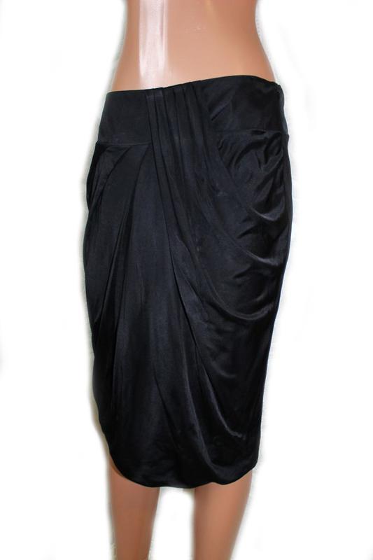 """Юбка карандаш черная летняя с красивой драпировкой """"тюльпан"""", ..."""