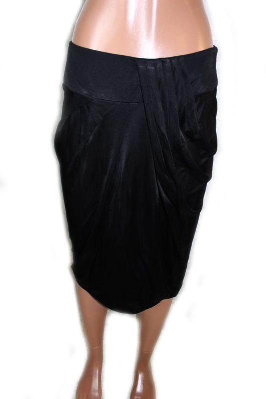 """Юбка карандаш черная летняя с красивой драпировкой """"тюльпан"""", ... - Фото 2"""