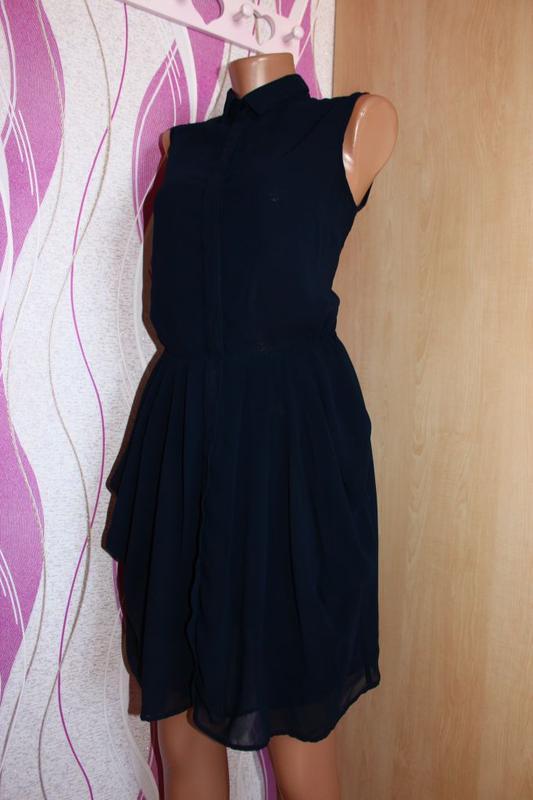 Платье - рубашка / юбка складками - тюльпан, румыния, 10/38 - Фото 2