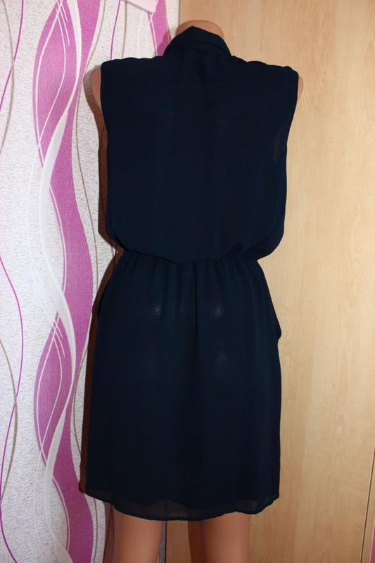 Платье - рубашка / юбка складками - тюльпан, румыния, 10/38 - Фото 3
