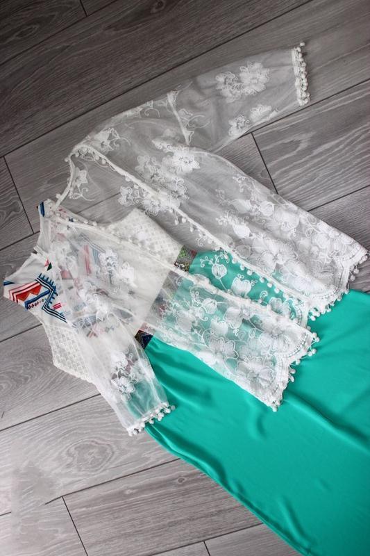Накидка / кардиган / белая сетка с шикарной вышивкой и горошин... - Фото 5