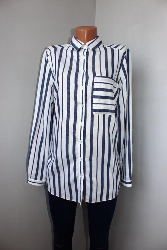 Блуза / рубашка по типу бойфренд белая текстурная зубчиком / в...