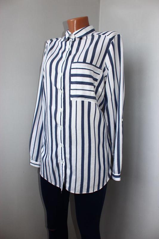Блуза / рубашка по типу бойфренд белая текстурная зубчиком / в... - Фото 2