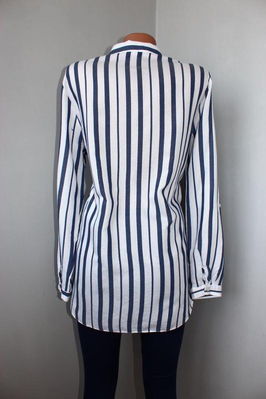 Блуза / рубашка по типу бойфренд белая текстурная зубчиком / в... - Фото 3