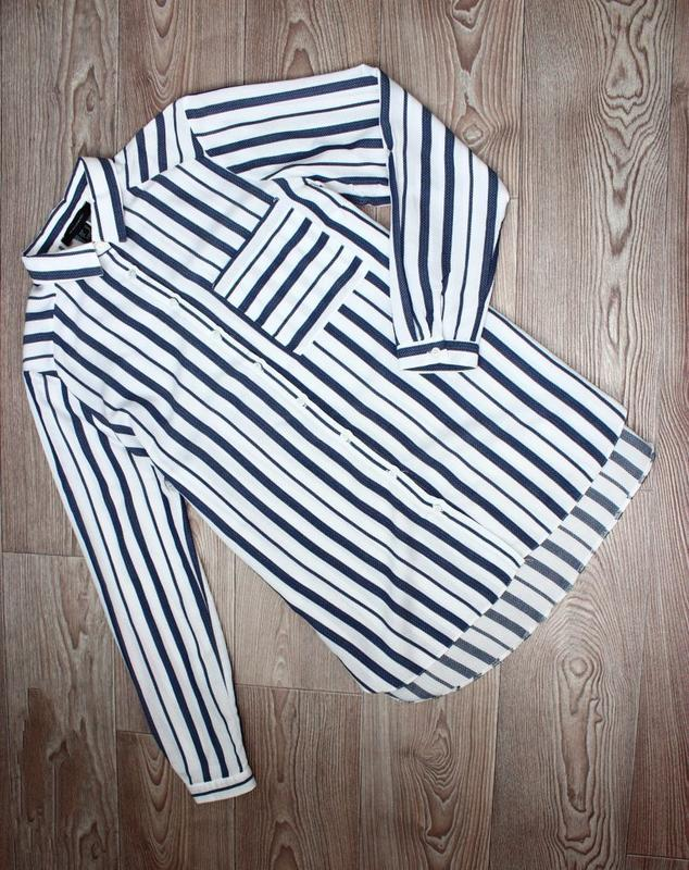 Блуза / рубашка по типу бойфренд белая текстурная зубчиком / в... - Фото 4