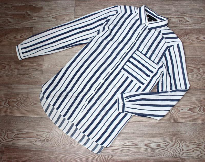 Блуза / рубашка по типу бойфренд белая текстурная зубчиком / в... - Фото 5
