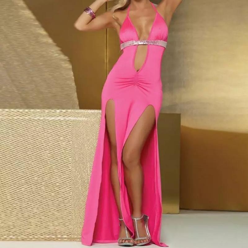Розовое, эротичное, длинное платье в пол, с глубоким декольте ...