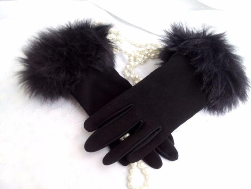 Перчатки трикотажные с меховым манжетом весенние