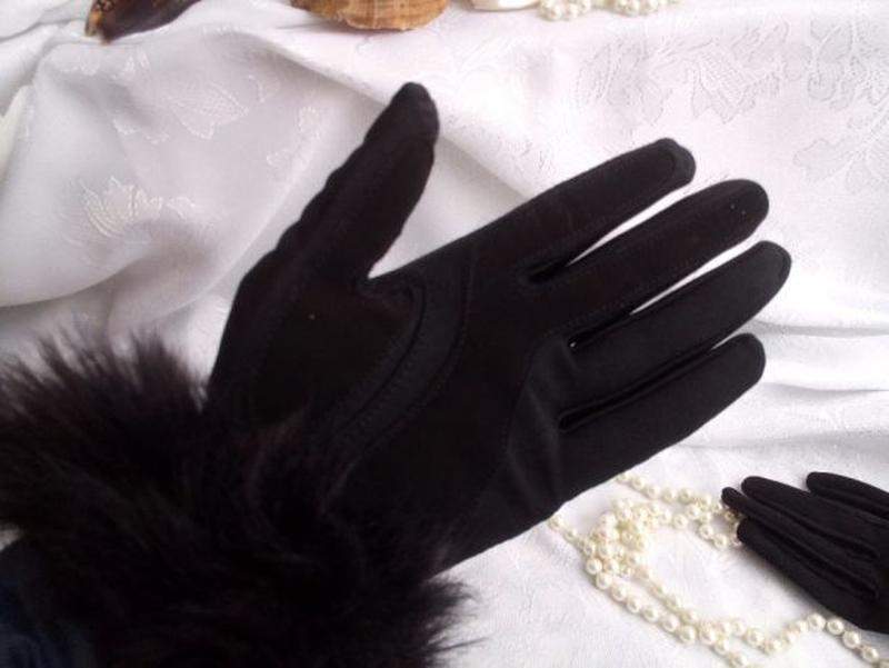 Перчатки трикотажные с меховым манжетом весенние - Фото 2