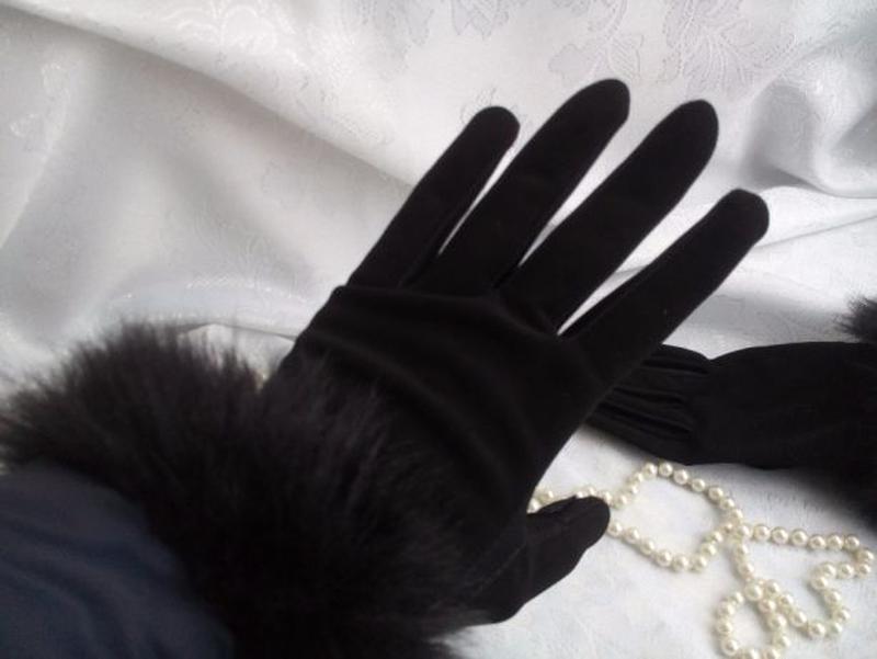 Перчатки трикотажные с меховым манжетом весенние - Фото 3