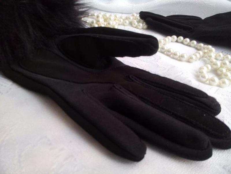 Перчатки трикотажные с меховым манжетом весенние - Фото 4