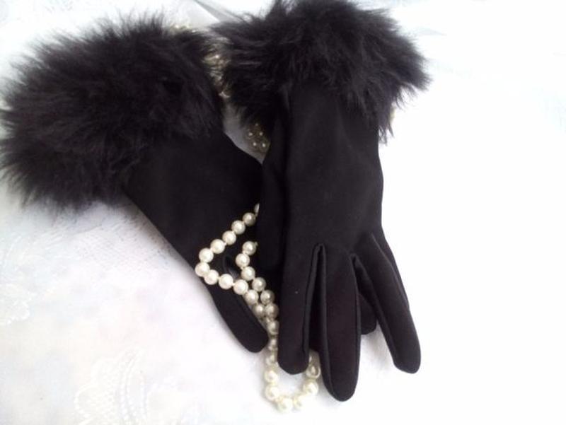 Перчатки трикотажные с меховым манжетом весенние - Фото 6