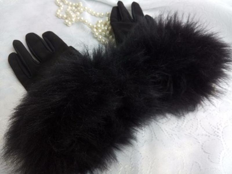 Перчатки трикотажные с меховым манжетом весенние - Фото 7