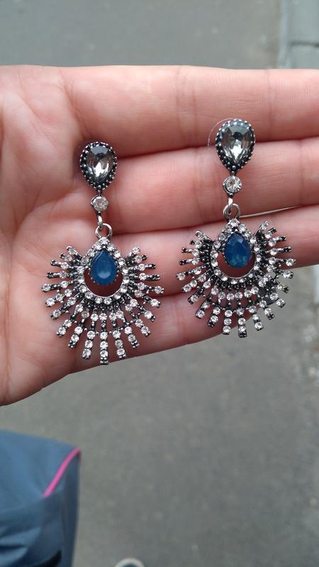 Шикарные серьги с камнями/гвоздики/серебристые/синие/серые - Фото 4