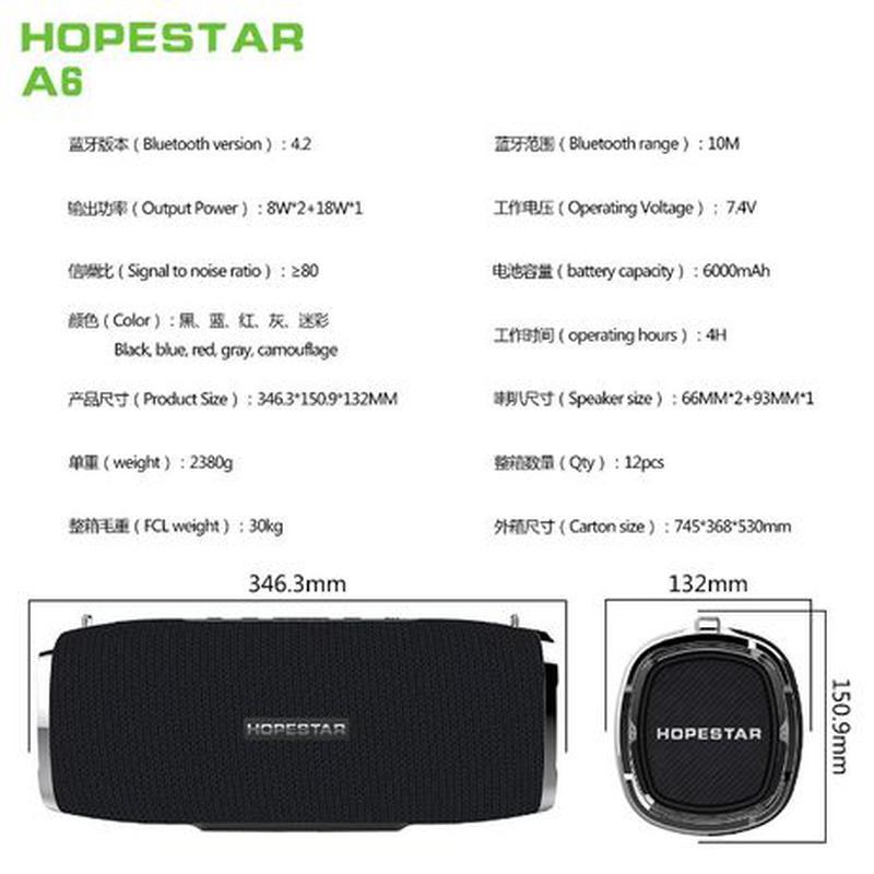 Hopestar A6 Портативная 35W Bluetooth колонка Original 6000mAh... - Фото 3