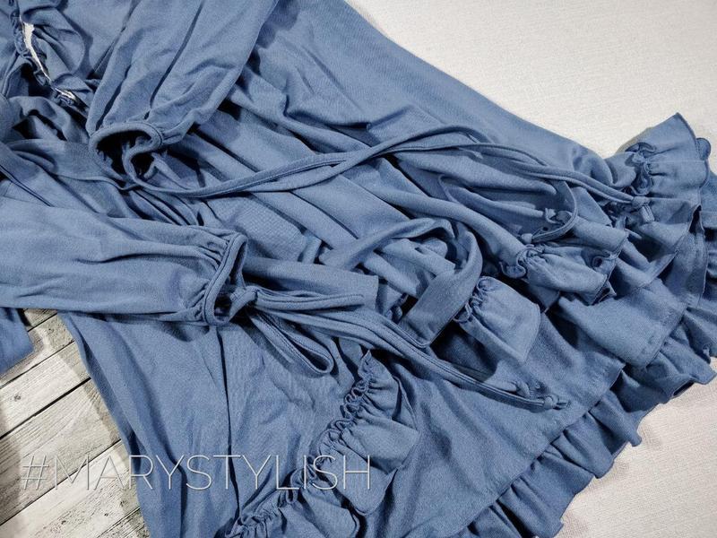 Модное платье с рюшами на запах, завязывается сзади пояс есть - Фото 3