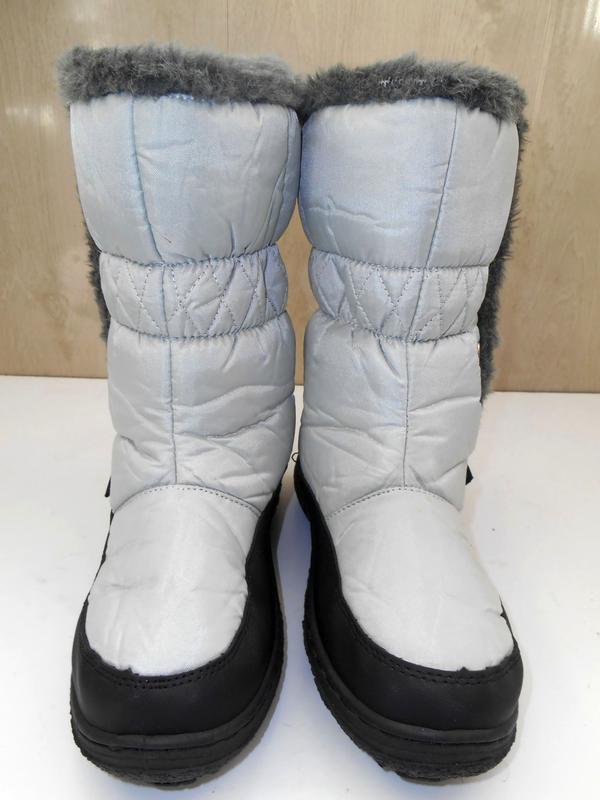 Женские теплые сапоги дутики на низком ходу  Snow fan - Фото 3