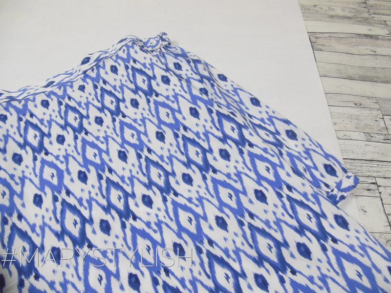 Синяя блузка с открытыми плечами - Фото 2