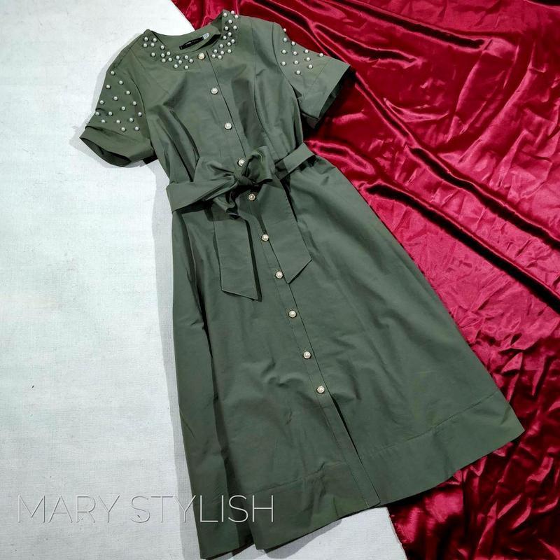 Платье батал  с декором жемчуг на пуговицах с поясом, не жарко...