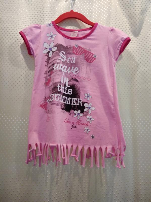 Розовая футболка для девочки 6 лет