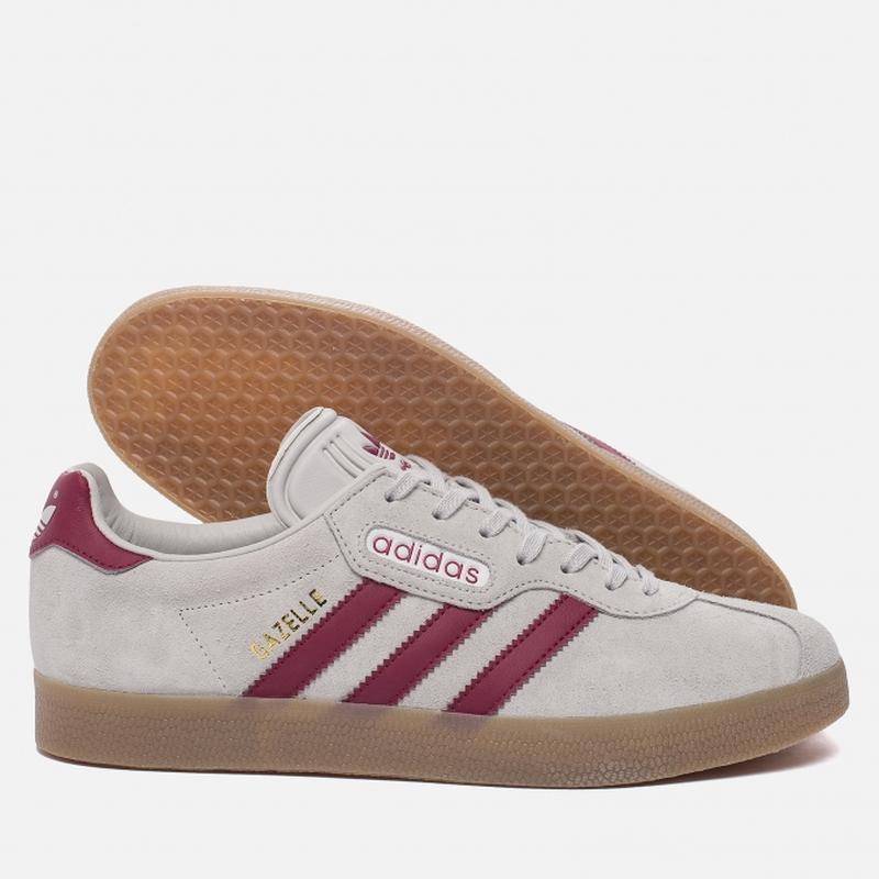 Кожаные кроссовки adidas gazelle super by9777 grey one/mystery... - Фото 4
