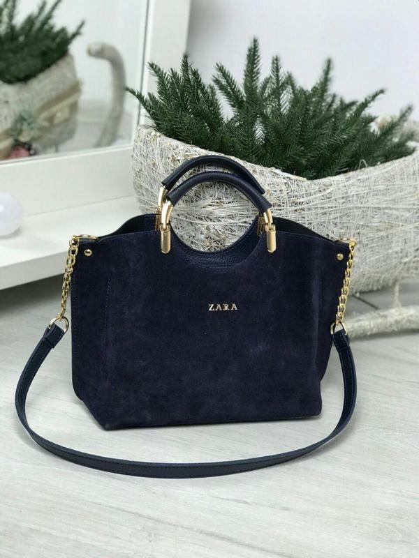 Zara стильная женская сумка зара в темно синем цвете 😍