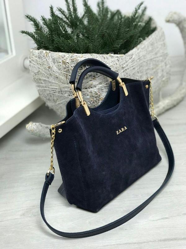 Zara стильная женская сумка зара в темно синем цвете 😍 - Фото 2