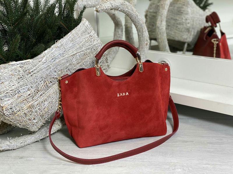 Zara стильная женская сумка зара в красном цвете 😍