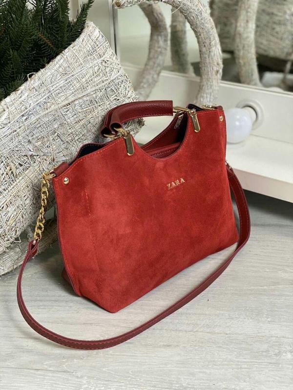 Zara стильная женская сумка зара в красном цвете 😍 - Фото 2