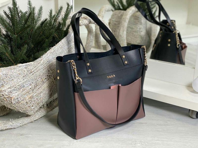 Zara шикарная кожаная женская сумка зара в черном цвете 😍 - Фото 2