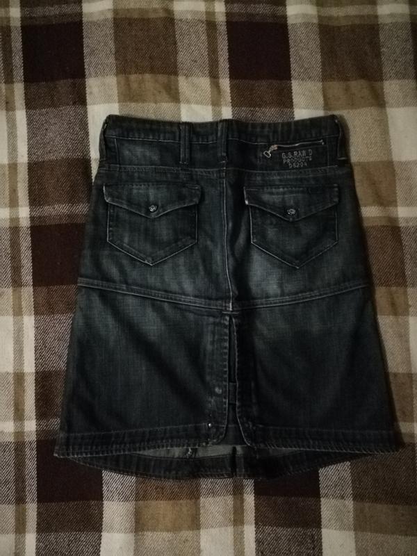 Джинсовая юбка до колена g-star, талия 76, бедра 96, длина 52 - Фото 2