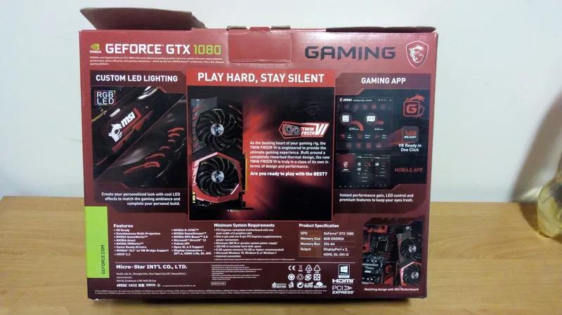 Коробка от видеокарты MSI GeForce GTX 1080 Gaming 8Гб - Фото 2