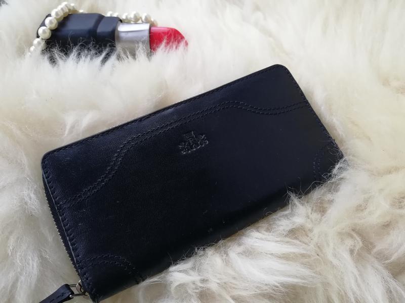 Добротный дорогущий кожаный кошелек , натуральная кожа rowallan