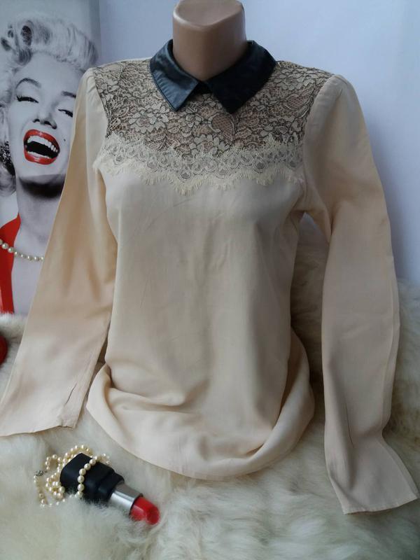 Трендовая стильная блуза рубашка с воротничком, вискоза кружево
